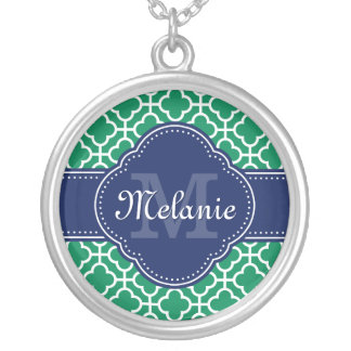 Emerald Green Wht Moroccan Pattern Navy Monogram Silver Plated Necklace