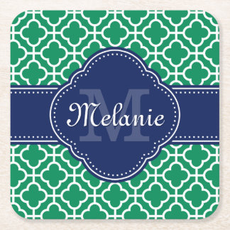 Emerald Green Wht Moroccan Pattern Navy Monogram Square Paper Coaster