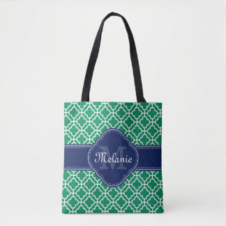 Emerald Green Wht Moroccan Pattern Navy Monogram Tote Bag