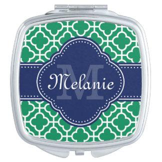 Emerald Green Wht Moroccan Pattern Navy Monogram Travel Mirror