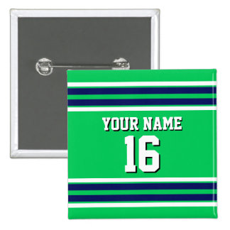 Emerald Green with Navy White Stripes Team Jersey 2 Inch Square Button