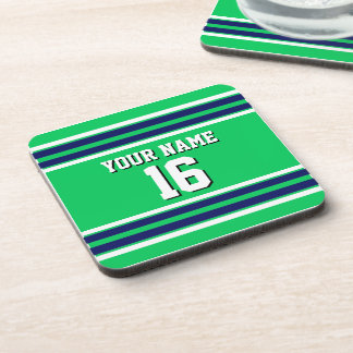 Emerald Green with Navy White Stripes Team Jersey Drink Coaster