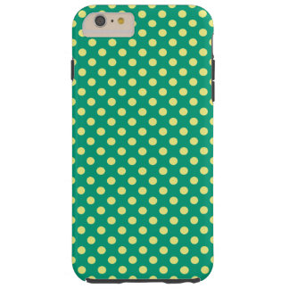Emerald Green with Yellow Polka Dots by STaylor Tough iPhone 6 Plus Case