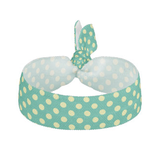 Emerald Green With Yellow Polka Dots Hair Tie