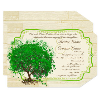 Emerald Heart Leaf Tree Barn Wood Wedding Card