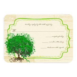 Emerald Heart Leaf Tree Barn Wood Wedding RSVP Card