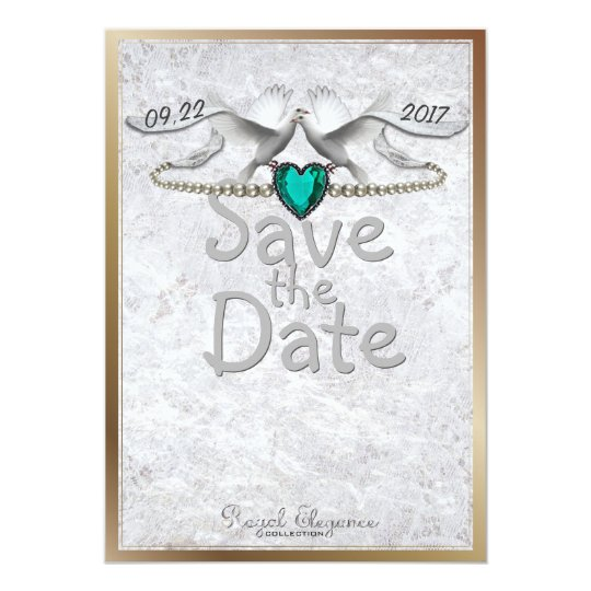 Emerald Heart Save the Date Card
