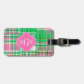Emerald Hot Pink Preppy Patchwork Madras Monogram Luggage Tag