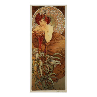 Emerald Illustration by Alphonse Mucha Poster