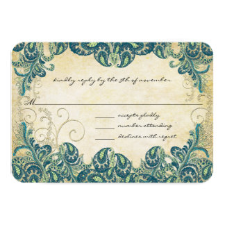 Emerald  Lapis Blue & Gold Peacock Wedding RSVP Card