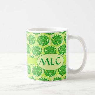 Emerald Lime Green Art Nouveau Damask Monogram Coffee Mug