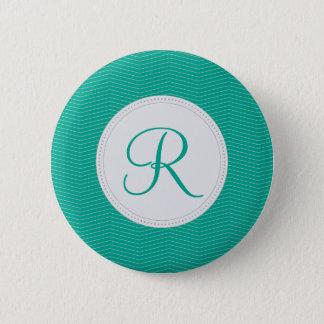 Emerald Monogram Thin Chevron Pattern 2 Inch Round Button