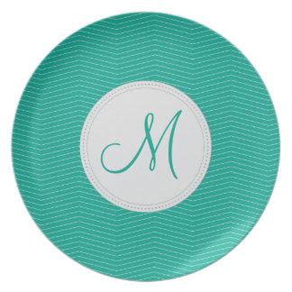 Emerald Monogram Thin Chevron Pattern Party Plate