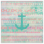 Emerald Nautical Anchor Pastel Watercolor Aztec Fabric