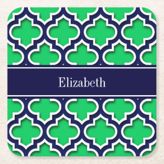 Emerald Navy Moroccan #5DS Navy Name Monogram Square Paper Coaster