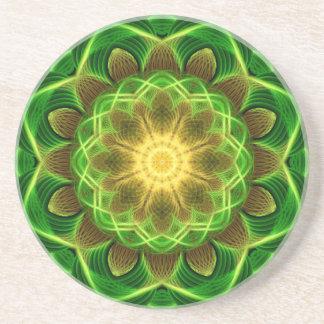 Emerald Orb Mandala Beverage Coaster