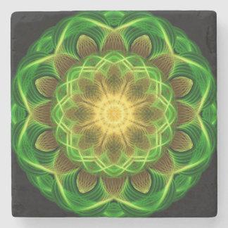 Emerald Orb Mandala Stone Beverage Coaster