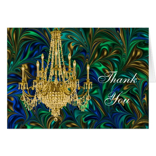 Emerald Peacock Blue Chandelier Thank You Card