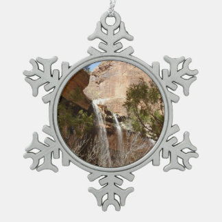 Emerald Pool Falls I from Zion National Park Pewter Snowflake Ornament
