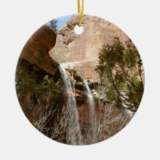 Emerald Pool Falls I from Zion National Park Round Ceramic Ornament