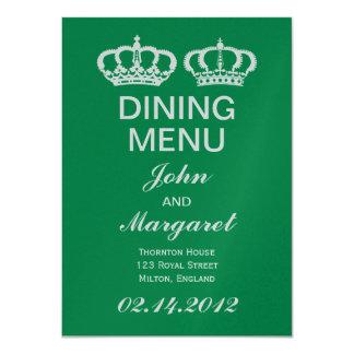 "Emerald Royal Couple Dining Menu 4.5"" X 6.25"" Invitation Card"
