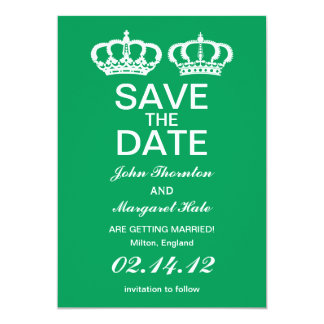 "Emerald Royal Couple Save the Date 5"" X 7"" Invitation Card"