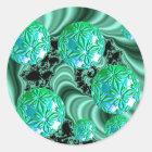 Emerald Satin Dreams - Abstract Irish Shamrock Classic Round Sticker