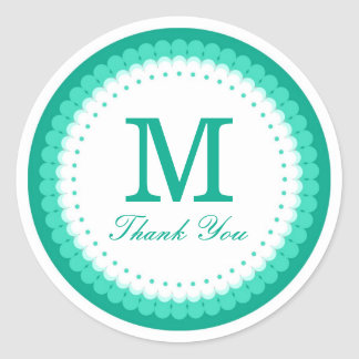 Emerald Scalloped Monogram Thank You Classic Round Sticker