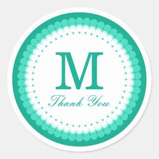 Emerald Scalloped Monogram Thank You Round Sticker