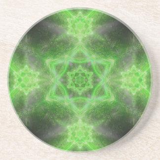 Emerald Star Mandala Beverage Coasters