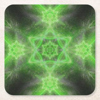 Emerald Star Mandala Square Paper Coaster