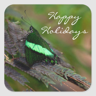 Emerald Swallowtail Happy Holidays Square Sticker