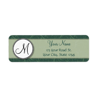 Emerald Teal Floral Wisps & Stripes with Monogram