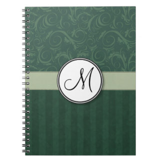 Emerald Teal Floral Wisps & Stripes with Monogram Spiral Notebook