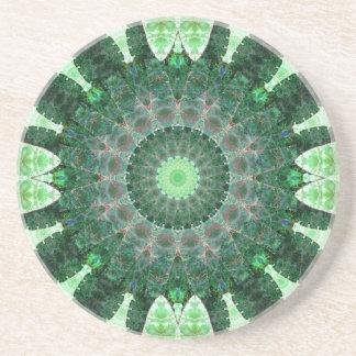 Emerald Turtle Mandala Drink Coasters