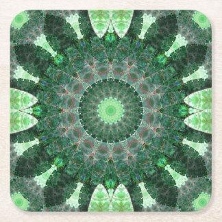 Emerald Turtle Mandala Square Paper Coaster