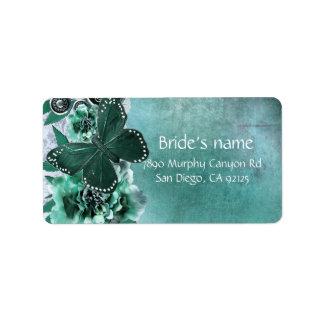 Emerald Vintage Damask Butterfly Address Label