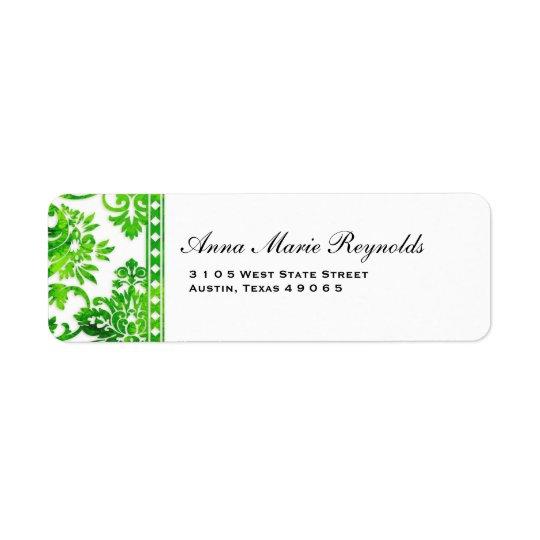 Emerald Vintage Damask Lace Fancy Return Address Label