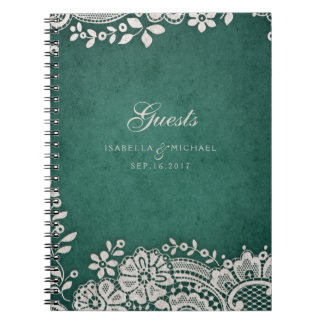 Emerald vintage lace rustic wedding guest book