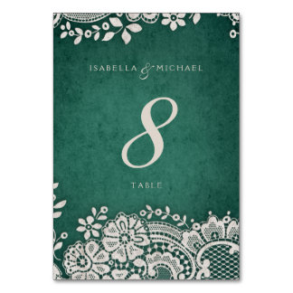 Emerald vintage lace rustic wedding table card