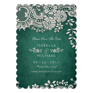 Emerald vintage lace rustic weddng save the date card