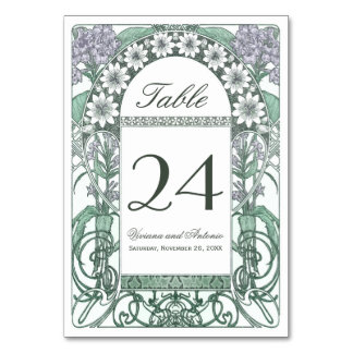 Emerald Violet Garden Wedding Table Numbers Table Card