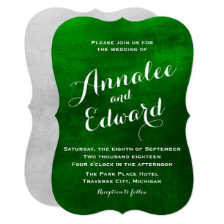 Emerald Watercolor Wedding Invitation
