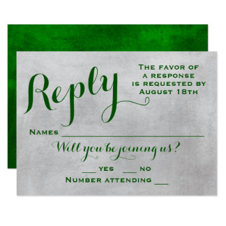 Emerald Watercolor Wedding RSVP/Response Card