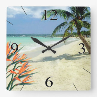 Emerald Waters Bird of Paradise Beach Clock