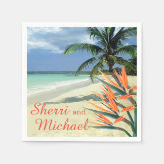 EMERALD WATERS Tropical Beach Wedding Disposable Napkins