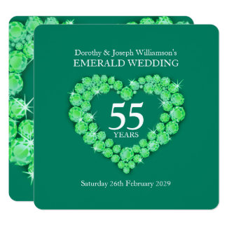 Emerald wedding anniversary 55 years party invites