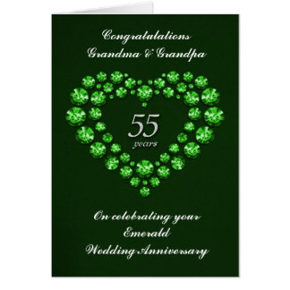 Emerald Wedding Anniversary Card - 55 Years