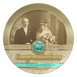 Emerald Wedding Anniversary Green Gem Damask Photo Party Plate