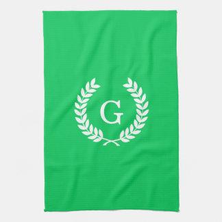 Emerald White Wheat Laurel Wreath Initial Monogram Hand Towels